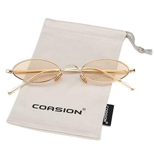 - Vintage Small Oval Sunglasses for Women Men Hippie Cool Metal Frame Sun Glasses (Gold Frame/Amber Lens)