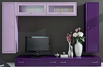 Color Prugna Per Pareti : Dafnedesign parete componibile per soggiorno colore lilla e