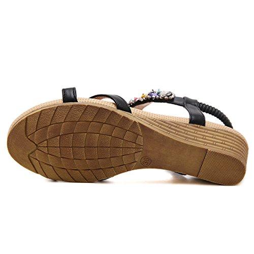 Pexuya Damen Sommer PU Leder Bohemia Sandalen mit Keilabsatz 406 Schwarz