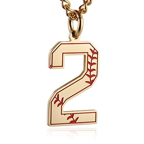 - HZMAN Baseball Initial Pendant Necklace Inspiration Baseball Jersey Number 0-9 Charms Stainless Steel Necklace (2 - Gold)
