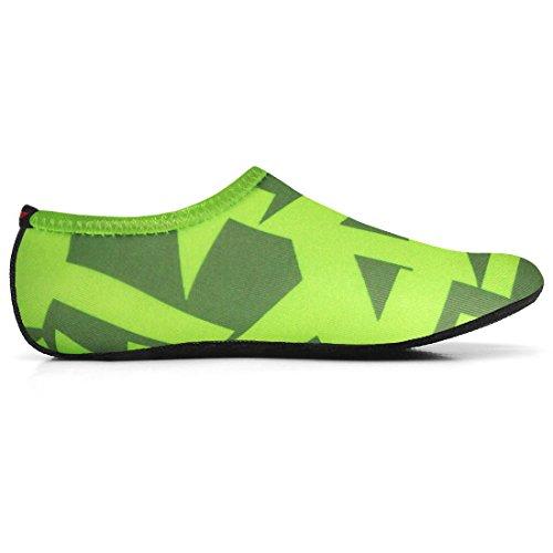 JustOneStyle NBERA Barfuß Flexible Wasserhaut Schuhe Aqua Socken für Beach Swim Surf Yoga Übung Ltr_grün