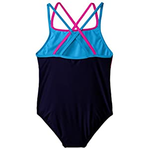Speedo Big Girls Cross Back Splice 1 Piece, Navy, 7
