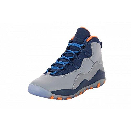 Jordan Air Jordan 10 Retro Big Kids Color: Wlf Gry/Dk Pwdr Bl-Nw Slt-Atmc Style: 310806-026 Size: 4