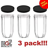 16oz Cups 3 PACK Replacement Cups for Magic Bullet Blender Lids Included Extra Cups