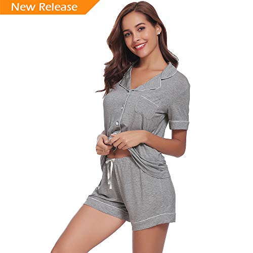 Seaside Womens pj Short Sets AMP005 Grey XL ()