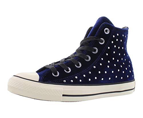 Converse Ct Hi Velvet Stud Womens Shoes Size 10 Dark Navy/White (Converse Black With Studs)