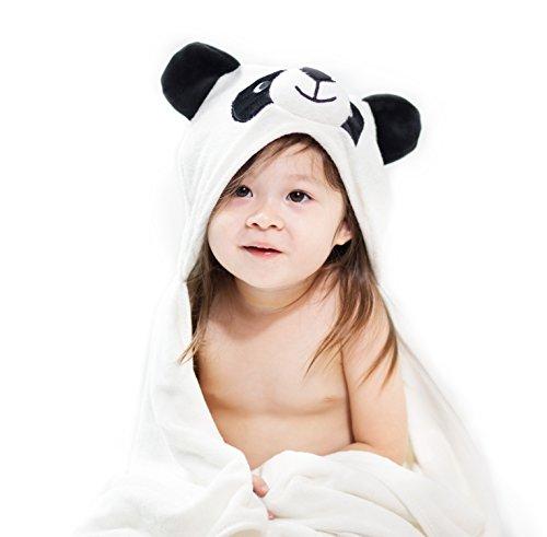 BabyBoop Organic Bamboo Hooded Baby Towel (680GSM) 3 in 1 Combo | Extra Soft W/ Hood & Panda Ears, Bamboo Washcloth, Organic Cotton Bandana Bib | 35