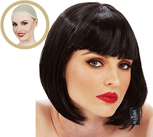 Short Black Bob Wig Bangs Mia Wallace Gatsby Costume 1920s Flapper Wigs -