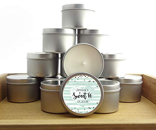 12 Industrial Chic Style Sweet 16 Favors | 4oz Silver Personalized soycandles, Scented | Table Decor, Centerpiece | Custom Stickers, Labels (Mint (Quinceanera Mint Tin Favors)