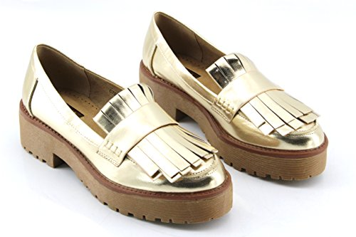 Modelisa - Mocasines Flecos Mujer Oro