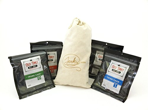 World's Best Old Fashioned Beef Jerky Gift Bag - Man Size - Double the Meat! (Best Value) - 4 Flavors of Traditional Style Beef Jerky in a Custom Made Canvas Bag: Original, Teriyaki, Peppered & Hot. Great Gift for any Man! (Old Baskets Value)