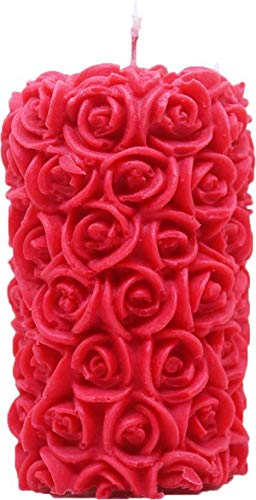 Shraddha Creation Rose Pillar Decorative Smokeless Designer Candle, Red Color with Rose Fragrance