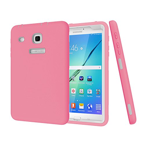 Y-Win Samsung Galaxy Tab E 8.0 Case,Heavy Duty Hybrid Shockproof Armor Soft Silicone+Hard PC Full Body Protective Case for Galaxy Tab E 8.0 inch SM-T377 / SM-T378 pink by Y-WIN