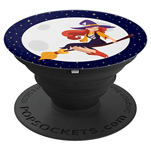 Beautiful Witch On Broom With Full Moon Gift For Halloween - PopSockets Grip and Stand for Phones and Tablets]()