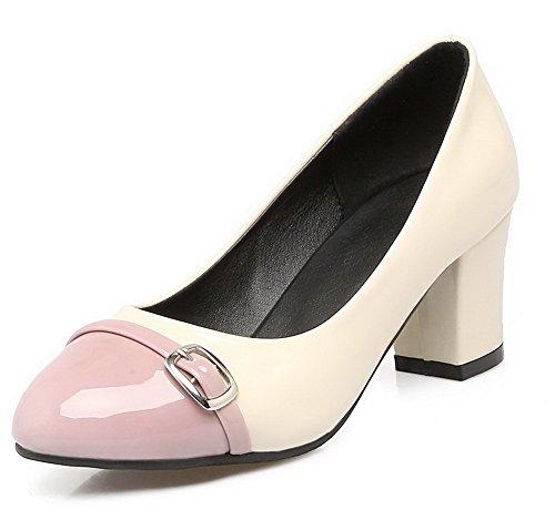 VogueZone009 Damen Mittler Absatz Rein Ziehen auf Lackleder Rund Zehe Pumps Schuhe, Pink, 37