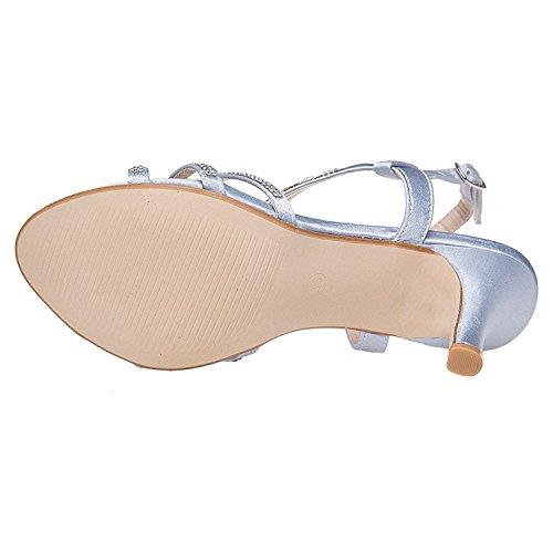 Silver Evening Sandals SheSole Women's 9 US Rhinestone 5 xI5qZPwUCZ