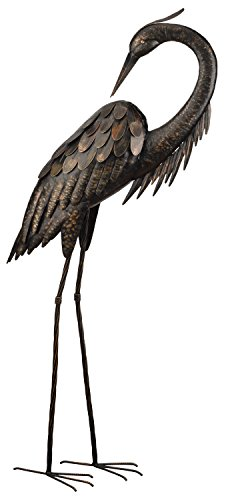 Regal Art &Gift Preening Bronze Heron Standing Art, ()