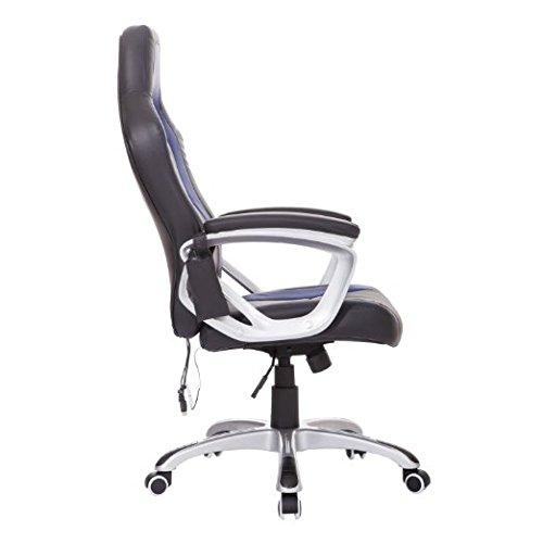 HomCom Race Car Style PU Leather Heated Massaging Office Chair - Blue by HOMCOM (Image #3)