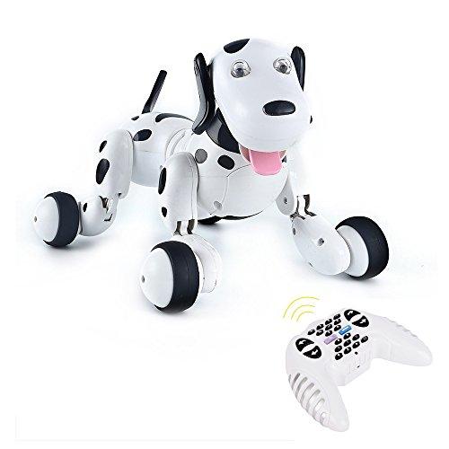 Electronic RC Smart Dog,2.4G Wireless Remote Control Smart Dog Electronic Pet Educational Children's Toy Dancing intelligent Robot Dog (Black)
