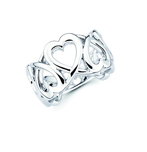 - Boston Bay Diamonds 925 Sterling Silver Open Linked Heart Band Ring