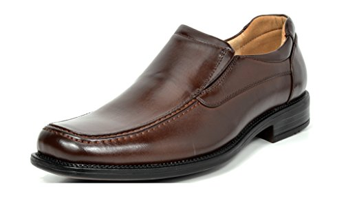 BRUNO MARC NEW YORK Bruno Marc Men's Goldman-02 Dark Brown Leather Lined Square Toe Dress Loafers Shoes - 8 M US
