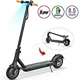 TOMOLOO Electric Scooter with Foldable Design, 18.6 Miles Long-Range, Up to 15.5 MPH, Portable and Foldable E-Scooter with 8.5' Air Filled Tires, Cruise Control, Headlight, Includes Speedometer