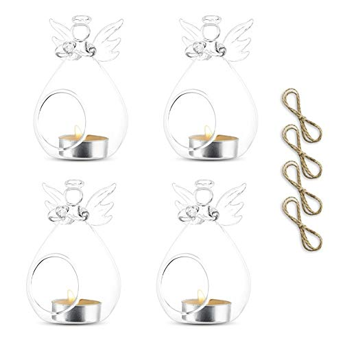 Sziqiqi Hanging Angel Ornaments, Angel Tealight Candle Holder, Clear Glass Angel Ornaments for Wedding Party Home and Christmas Tree Decorations (Set of 4)