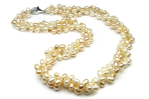 Cultured Pearl Necklace Twisted (Natural Color Peach and White Freshwater Cultured Pearl Twisted Necklace)