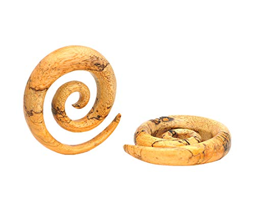 - Mystic Metals Body Jewelry Tamarind Wood Super Spirals (PW-326) Plugs gauges - Sold As a Pair (0g (8mm))