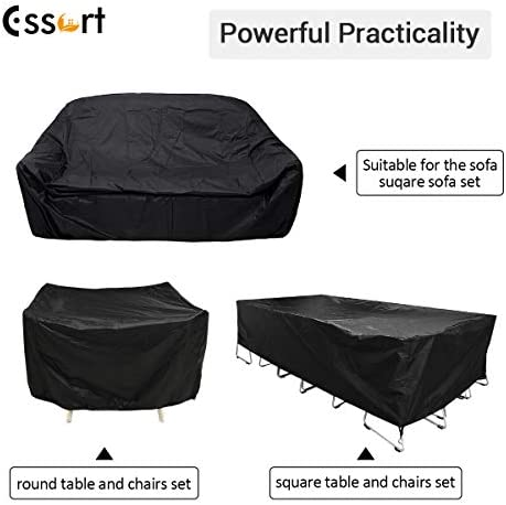 "ESSORT Patio Furniture Covers, Extra Large Outdoor Furniture Set Covers Waterproof, Rain Snow Dust Wind-Proof, Anti-UV, Fits for 12 Seats (124""x63""x29"" 210D)"