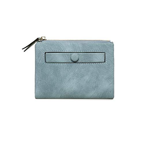 Women's Rfid Small Bifold Leather Wallet Ladies Mini Zipper Coin Purse id card Pocket,Slim Compact Thin (Blue2)