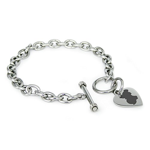 (Tioneer Stainless Steel Disney Princess Little Mermaid Ariel Heart Charm, Bracelet Only)