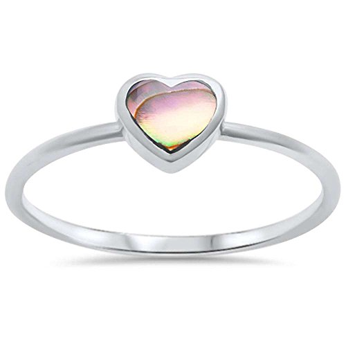 - Oxford Diamond Co Sterling Silver Abalone Shell Heart Ring Sizes 7