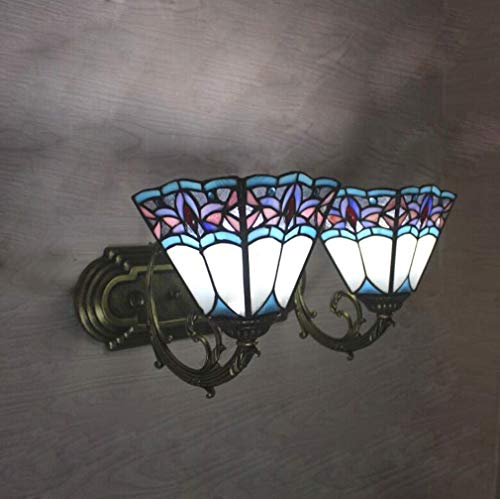 ChuanHan Creative Tiffany Style Wall Light, European Style Creative Stained Glass Wall Light,Personality Simple Sconces, Mirror Headlight, Suitable for Bedchamber, Bathroom