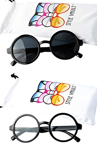 Kd3008 Baby Infant Toddlers Age 0~36 Months Round Retro Sunglasses (2-pack Black&Black-clear lens) ()