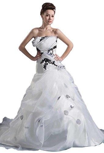 Angel Formal Dresses Strapless Organza Satin Pick Ups Wedding Dress(18,White)