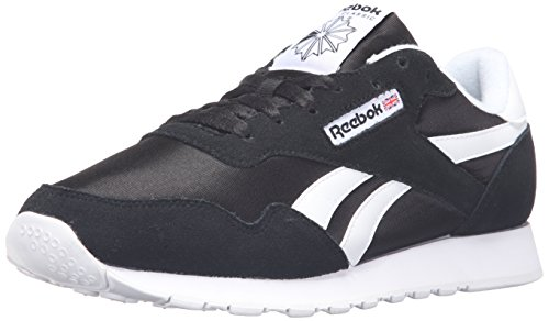 Reebok Men's Royal Nylon Classic Fashion Sneaker, Black/Black/White, 10 M US