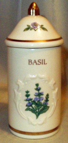 Basil Botanical 'Spice Garden' Porcelain Spice Jar with Gold Trim by Lenox