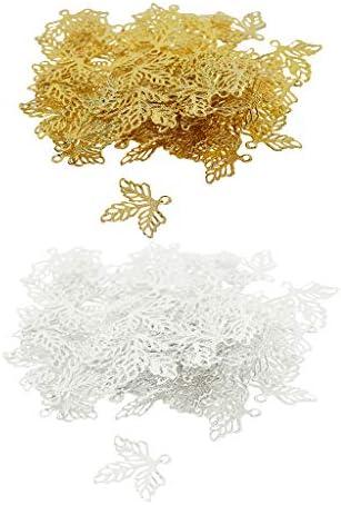 P Prettyia アクセサリーパーツ リーフ チャーム 葉っぱ 透かし ピアスパーツ ゴールド プラチナ 約200個入