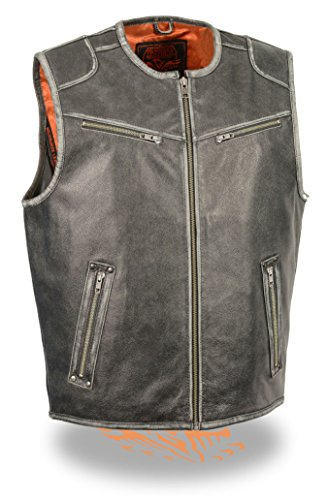 (Milwaukee Men's Motorcycle Vintage Distressed Grey Leather Vest Soft With 2 Gun Pockets (Regular XL))