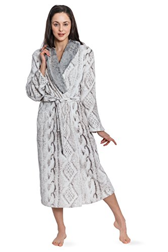 Cozy   Curious Women s Long Faux Sweater Printed Royal Plush Robe (Ivory) d6923d7e8