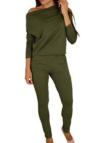 Plus Size Tracksuit - Women's 1PC Trendy Jumpsuit Sleeveless Broken Hole Waisted Club Long Romper Outfit, Large,  09-green