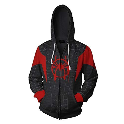 Gurbanton Spiderman Into The Spider Verse Hoodie Miles, Black-Red, Size X-Large