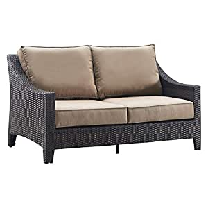 Serta Tahoe Outdoor Loveseat Terra Brown Wicker