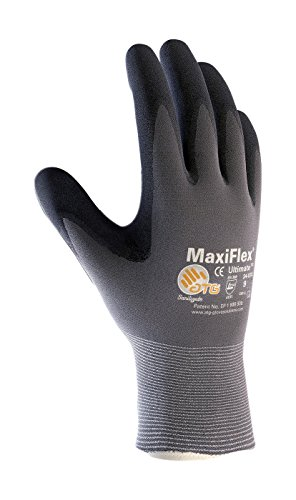 MaxiFlex Ultimate ATG 34-874 - MEDIUM 34-874/Seamless Knit Nylon/Lycra Glove with Nitrile Coated icro-Foam Grip on Palm and Fingers, Gray/Black (Pack of 12)