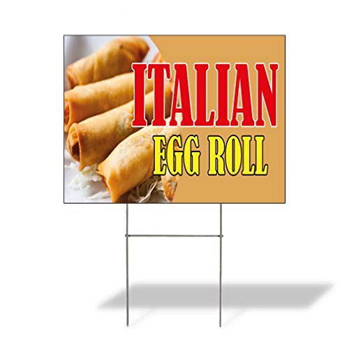 Corrugated Plastic Rolls - Italian Egg Roll Outdoor Lawn Decoration Corrugated Plastic Yard Sign - 18inx24in, Free Stakes