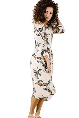 Women Sleeveless Lace Chiffon Dresses (Khaki) - 7
