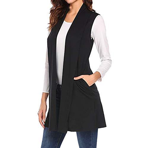 Cardigan top,Women Casual Sleeveless Cape Shawl Pocket Draped Open Front Vest Coat(Black,S)