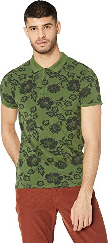 Scotch & Soda Men's Classic Garment-Dyed Pique Polo with All Over Print Combo B Large