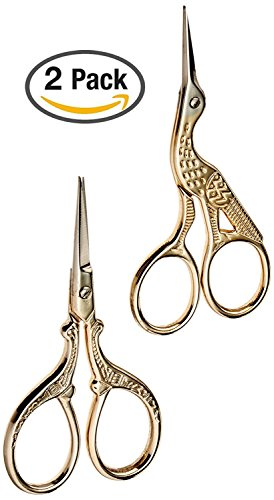 TWO High Quality 3.5 Inch Gold Plated Stainless Steel Scissors for Embroidery, Sewing, Craft, Art Work & Everyday Use - Ideal as a (Bird Scissors)